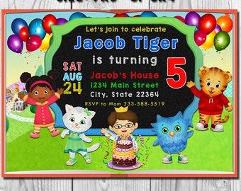 Daniel Tiger Invitation, Daniel Tiger Birthday Party Invite, Daniel Tiger's Neighborhood, Daniel Tiger's Neighborhood Chalkboard Invitation