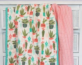 Cactus Throw Quilt