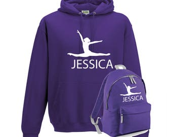iLeisure Girls Personalised Air Jump GymnasticsDancer with Name Hoody and Gym Bag Bundle