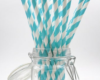 Blue Paper Straws. Striped Straws. Party Supplies. Drinkware.