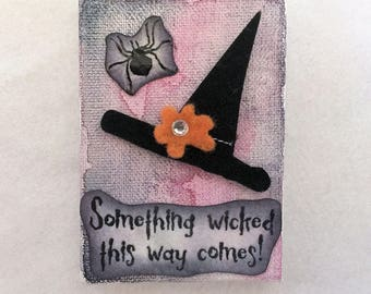 Something Wicked - Witch Hat - Halloween - Mixed Media Mini Canvas