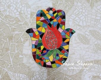 Pomegranate Hamsa. Ceramic Hamsa. Wall hanging Hamsa. Jewish gifts. Judaica. Home Decor. Hamsa Hand. Housewarming Gift.