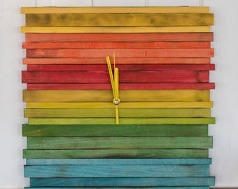 Wall colorful wood clock, Modern Clock, Clock gift, Reclaimed Wood, Natural wooden clock, Wall decor, Gift for home, Beautiful sticks clock