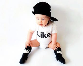 Hipster Baby Clothes - Trendy Baby Clothes - Cute Hipster Baby Boy Clothes - Like. Typography Kids T-Shirt
