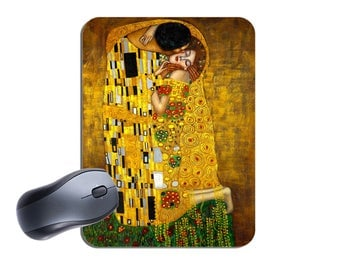 Gustav Klimt The Kiss Art Nouveau Print Mouse Mat. High Quality Computer Mouse Pad