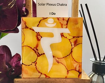 "DvonG #14: Original Handmade Alcohol Ink Painting ""I Do"" Solar Plexus Chakra"