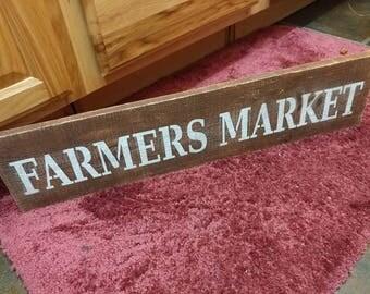Primitive Distressed Farmers Market Pallet Sign Rustic