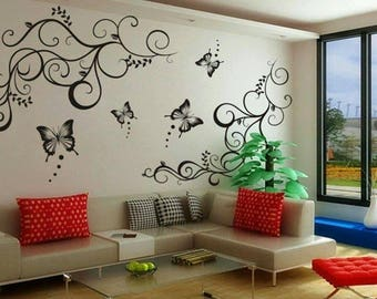 Wall Decals 'Lovely Butterflies' Wall Sticker PVC Vinyl 60x90 cm Black Wall Decor Murals