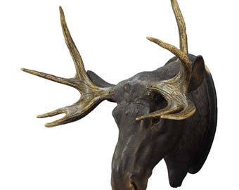 a livesize plaster elk head with real antlers