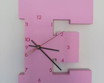 "Wooden Letter ""E"" Clock | Kids Clock | Wall clock | Nursery Clock"