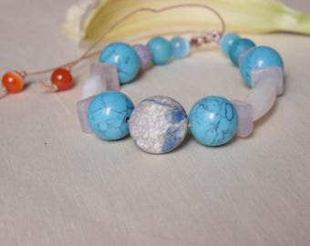Bracelets natural stones, artificial beads assorted turquoise pink white brown