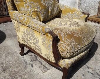Bergere armchair style Louis XV Walnut ep 1940
