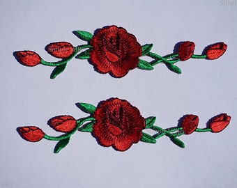 Red Rose Patches 2 Pieces Iron On Patch Craft DIY Sew on Applique Patches ~~ FREE SHIPPING