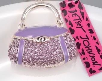Betsey Johnson purple Crystal handbag Pendant Necklace
