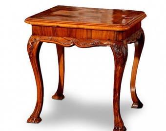Walnut Carved Side Table
