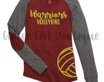 Personalized Volleyball Shirt, Volleyball Mom Raglan Shirt, High School Volleyball Shirt, School Spirit Shirt, Raglan Sport Shirt,