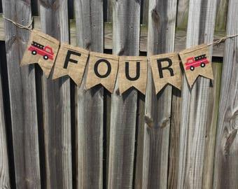 Fire Truck Banner - Fire Truck Birthday Banner - Custom Birthday Banner - Burlap Banner - Fire Truck High Chair Banner - Fire Truck Birthday