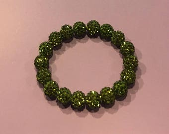 Dark Lime Green Shamballa Disco Clay Bracelet