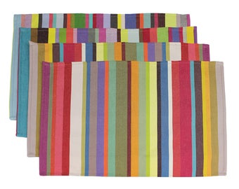 Set Of 4 French Colorful Striped Artisan Napkins