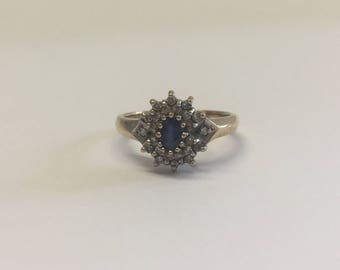 9ct Gold Diamond And Sapphire Cluster Style Ring