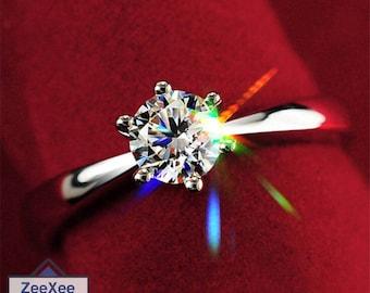 Silver Plated Zircon Diamond Ring