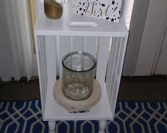 Rustic wood crate nightstand/ side table with decorative legs.
