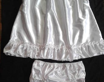 ABDL Adult Baby Sissy WHITE SATIN Dress & Panties Set Crossdresser Cosplay Anime
