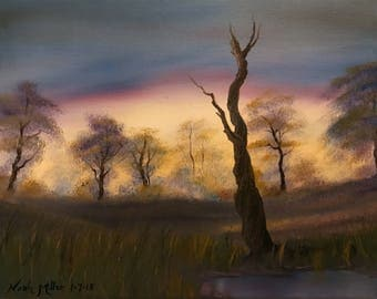 Evening in the meddow - Original oil painting