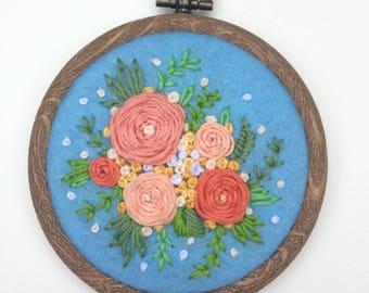 Free hand floral hoop