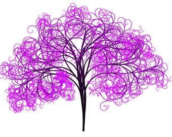 Pink Swirly Tree Cross Stitch Pattern