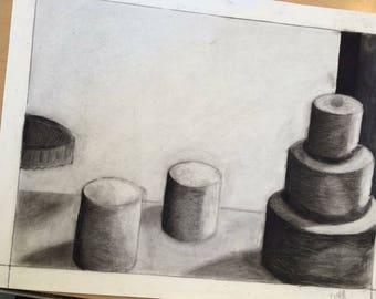 "Hand Drawn Simplistic Cake Still Life 18x24"" in Charcoal"