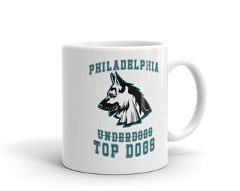 Philadelphia Underdogs Coffee Mug. White Ceramic Tea Cup For Philly Football Fan Adult, Kids & Youth.