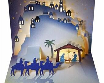 Laser Cut Pop Up Christmas Card - Christmas Nativity, POP109
