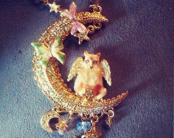 Vintage Kirks Folly Luna Kitty Angel Necklace