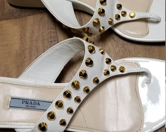 Prada Milano Authentic Ladies Fashionable Gold Studded Italy 38 White Sandals