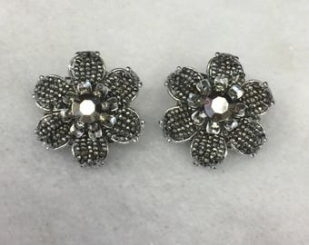 Vintage Signed DeMario Silver Tone and Rhinestone Flower Clip Earrings