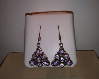 Vintage Sterling .925 Amethyst French Wire Earrings