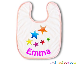 Bib with name and star Baby bib No118