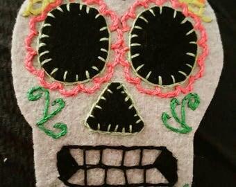 Dia de los muertos, embroidered sugar skull felt patch.