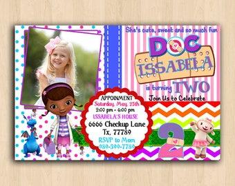 Doc McStuffins Birthday Invitations, Doc McStuffins Invitations, Doc McStuffins Birthday Party Invitation, Doc McStuffins Invites