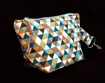 Cosmetic bag * triangle * make-up bag size S with carabiner * triangles * beauty case-turquoise/turqoise