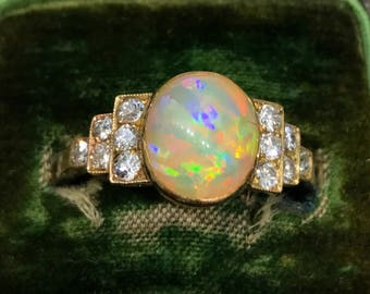 Art Deco opal and diamond rose gold ring