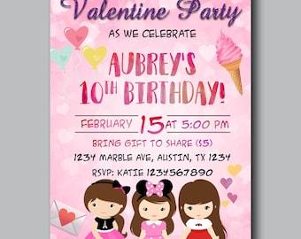 Valentine's Birthday Party Invitations, Valentines Day Invitations, Valentines Invitations, Valentines themed