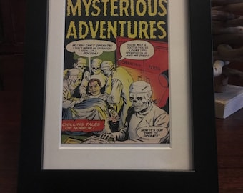 Retro 1950's Comic book cover - Framed - Mysterious Adventures