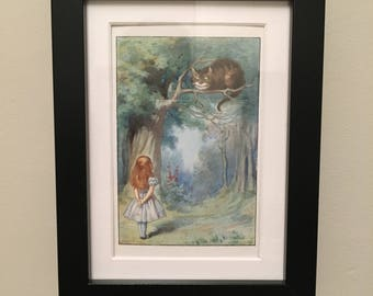 Classic Alice in Wonderland Illustration - framed - Cheshire Cat