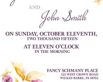 Wedding Invitation - Floral Watercolor