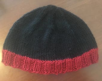 Black and Red Knitted Beanie Hat