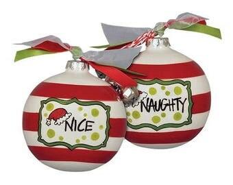 Naughty/Nice Ceramic Call Christmas Ornament