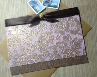 Gold Floral - Greeting Card - Embossed and Inked