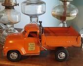 Tonka State Hi-Way 975 Orange Hydraulic Dump Truck 1950s Pressed Steel Toy!